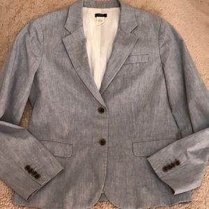 J Crew Blue Chambray Blazer Size 10