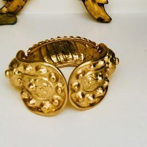 KENNETH JAY LANE Etruscan Goldtone Cuff NEW