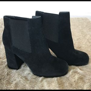ASOS Black Suede heeled ankle boots size 8
