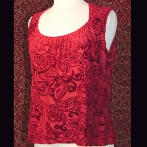 NEW YORK & COMPANY red burnout blouse XL