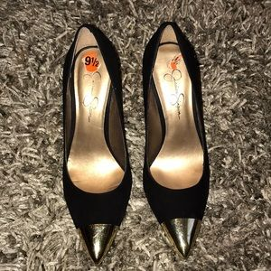 Black with Gold Tip pumps by Jessica Simpson