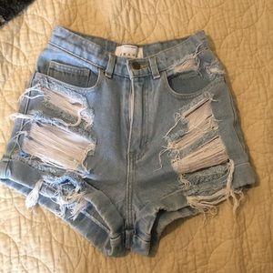 HAND-DISTRESSED American Apparel hi-waisted shorts