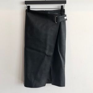 Topshop faux leather wrap skirt