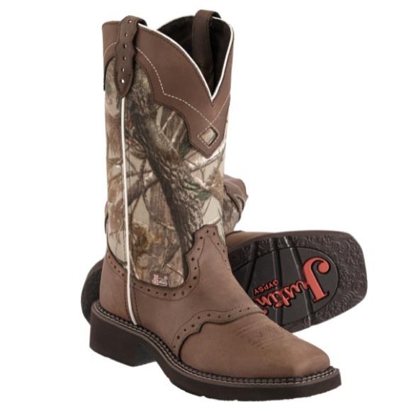 Justins Camo Cowboy Boots Womens