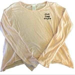 Think Happy Thoughts Pink long sleeve shirt