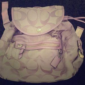 Coach Kyra Light Purple Backpack Signature C print