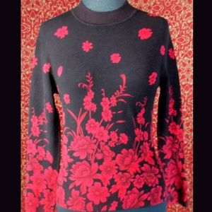 Black & Red floral VINTAGE 80's cropped sweater S