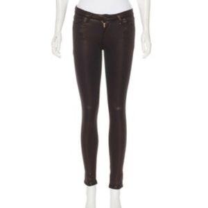 AG black/bronze shinny skinny jean leggings