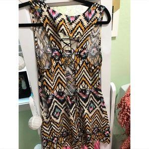 LF Tribal Mini Dress w/ Criss Cross back details
