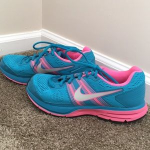 Bright blue and pink tennis shoes