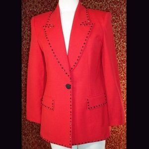 JENNA VINTAGE 90s red wool bedazzled blazer 4