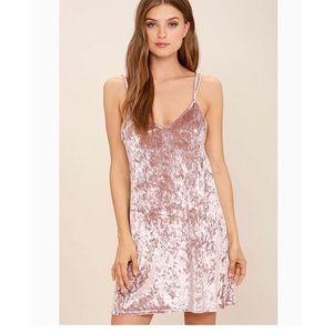 Pink velvet slip dress by Lulus