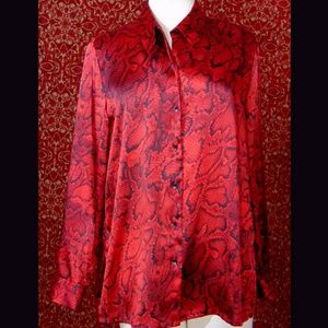 JONES NEW YORK red snake long sleeve blouse L