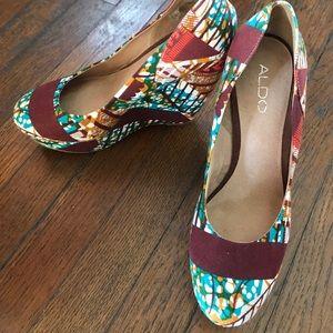 Aldo multi print wedge heels
