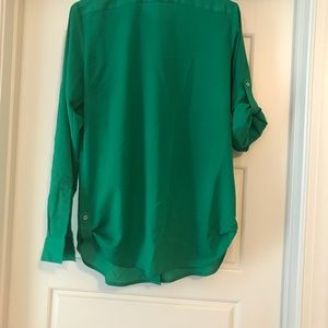 Green blouse with silver detail