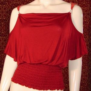 LATE' Red rayon batwing cropped blouse Junior M