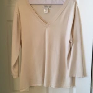 Coldwater Creek size L cream v-neck stretchy top
