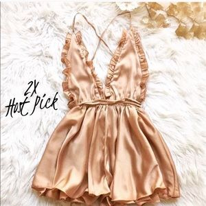 Pants - 2x Host Pick ❤️ Champagne Satin Backless Romper
