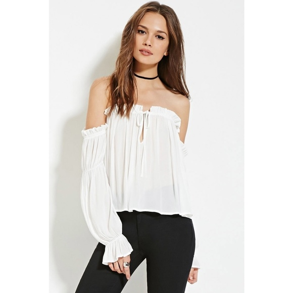 5ddd6c4f71d1c2 🌼FOREVER 21 SEMI SHEER OFF SHOULDER TOP