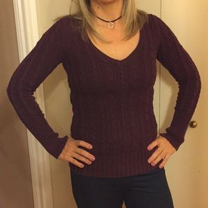 American Eagle v-neck Cable Knit  sweater