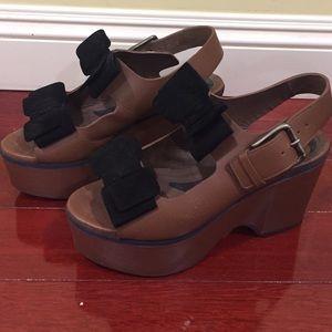 Marni Brown chunky heel sandal with bows size 41🎀