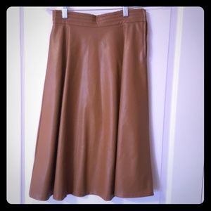 "H&M Knee Length ""Leather"" Skirt, Camel Color"