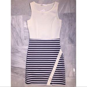 Off white and blue mini dress