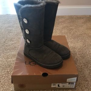 Swarovski Rhinestone Grey Bailey Button Ugg Boots