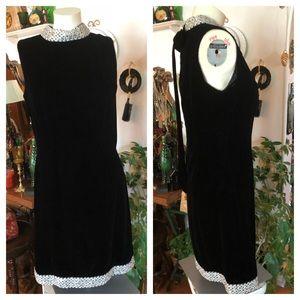 Vintage Black Velvet Dress w Silver Metallic Cord