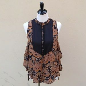 Anthropologie Arynk Fall Colored Tunic Blouse