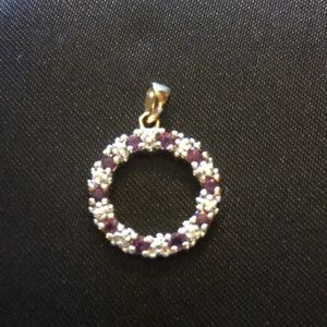 Jewelry - Genuine ruby circle pendant in gold over sterling