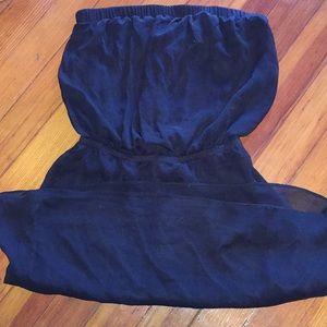 Black strapless chiffon dress