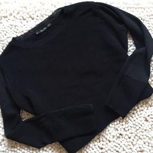 Zara Black Cropped Long Sleeve Top