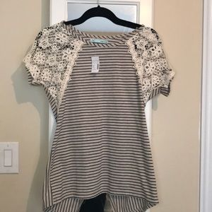 Lace and stripe top.