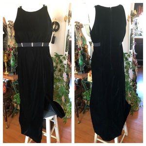 Vintage Long Black Velvet Dress w Rhinestone Bands