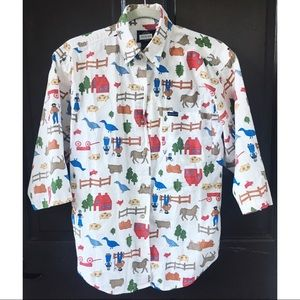 Vintage 90s Dockers Farm Life Button Down M