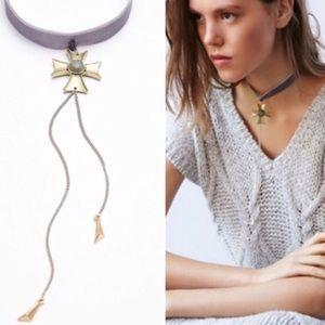 Free People velvet choker cross necklace