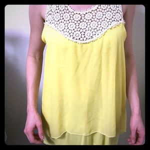 Sheer Yellow Lace Razorback Tank