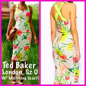 TED BAKER, LONDON, Floral Stretch Bodycon w/ SCARF