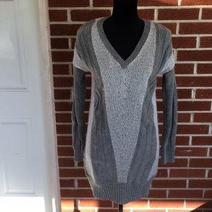 Grey V-Neck Tunic Sweater
