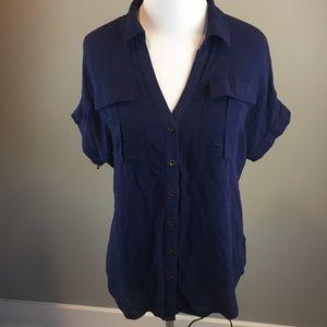 Anthropologie Edme & Esylite Blue Short Sl Shirt S