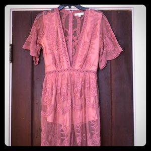 Honey Punch Blush Lace Romper Maxi