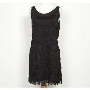 Navy H&M fringe sheath dress
