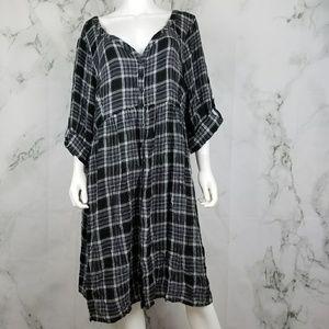 Torrid plaid button down t-shirt dress