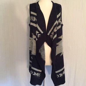 BCBG | navy & metallic open sleeveless cardigan