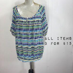 Cato Plus Size 22w 24w Striped Polka Dot Blouse