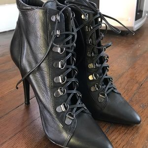 Also tie up pointy toe anklet boots