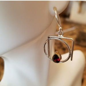 Jewelry - 1ct Garnet Geometric Earrings 1""