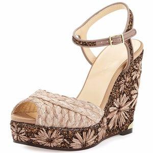 Jimmy Choo Perla Glitter Braided Wedge Sandal