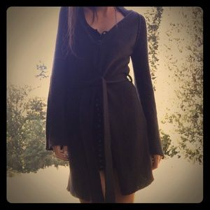 Long, Thick & Cozy Black Sweater w/ Tie